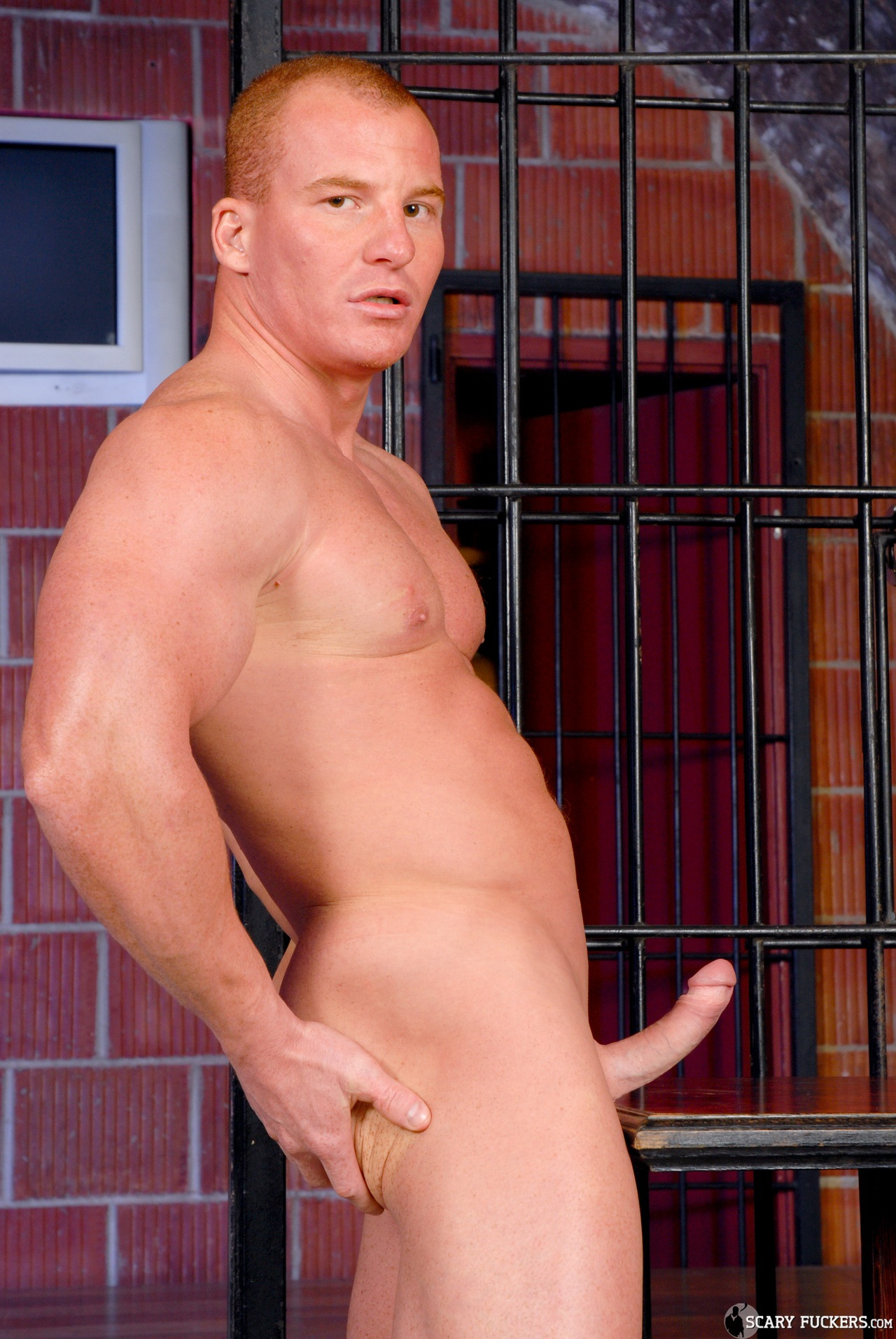 image This muscle dude with huge cock get wanked in spite of him hy our assistant